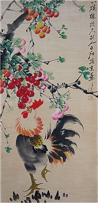 Hand-painted scroll painting (reproduction Qi Baishi)《齐白石-公鸡》- China - late 20th century