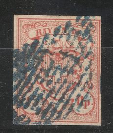 Switzerland 1850-1854 – RAYON III – Michel 10 including printing error, diagonal lines on the stamp image