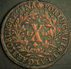 Portugal - Monarchy - D. Maria I - X Reis 1799 - Low Crown - Copper