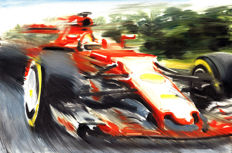 Sebastian Vettel Ferrari SF70H Turbo F1 Formula 1 ORIGINAL Oil Painting on Canvas hand-made by Artist Andrea Del Pesco + COA.