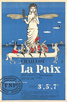 "T.N.P. Jean Vilar - 2 original posters for ""Les rustres"" and ""La Paix"" - 1961"