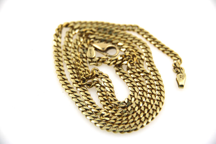 Curb chain made of 585 yellow gold - length 58 cm