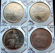 Portugal - 4 coins - 1,000 escudos, years: 1999, 2000 (2) and 2001 - Silver.