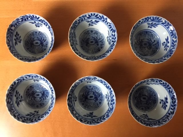 Set of 6 bowls Antique blue and white porcelain Crab and Bass - China - 19th century