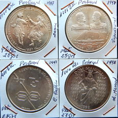 Portuguese Republic - 4 coins - 1,000 coins, years: 1997 (3) and 1998 - Silver.