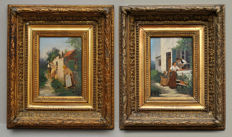 Unknown (19/20th century) - lot of 2 oils on panel