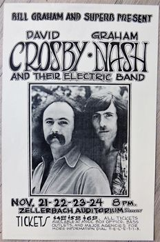"Beautiful David Crosby & Graham Nash "" Dance"" Concert Poster 1976"