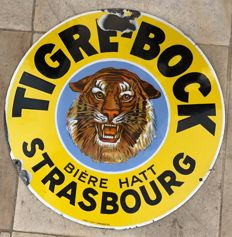 Old enamelled sign - TIGRE BOCK - 1930 - Ø50cm