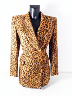 Gianfranco Ferre long blazer met panter print KOF@