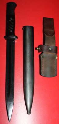 K 98 bayonet, Germany, police version, with sheath and frog, original, very good condition, WW2