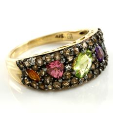 14kt Yellow Gold Swiss Blue Topaz, Peridot, Amethyst, Pink Topaz,  Smoky Quartz Ring Size 7