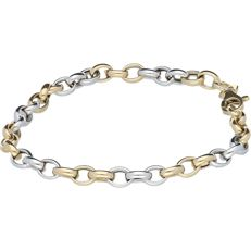 14 kt yellow gold bi-colour bracelet with anchor links - Length: 20 cm