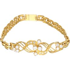 21.6 kt Yellow gold Venetian link bracelet set with 16 round brilliant cut diamonds of approx. 1.34 ct in total - Length: 20 cm