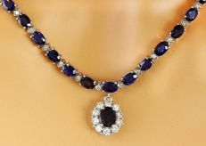 46.18 Carat Sapphire and Diamond Necklace in 14K White Gold - Length: 17 Inches (43.2 cm) ***Free Shipping*** No Reserve ***
