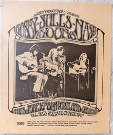 "Beautiful Crosby Stills Nash & Young """" Dance"" Concert Poster 1970"
