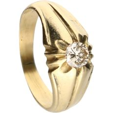 18 kt - Yellow gold ring set with 1 brilliant cut diamond of approx. 0.33 ct in total - Ring size: 17.25 mm