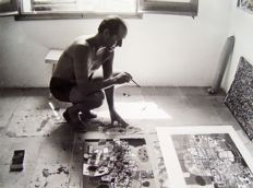 Christer Stromholm (1918-2002) - Corneille working in Cadaques, Spain, 1960