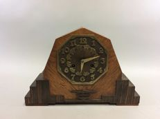 Art Deco wooden pendulum clock - with bronze dial - Amsterdam School