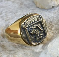 101st Airborne Division Eagle Ring Hypoallergenic 24k Gold Plated 21st Century