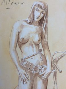 Moreno - original colour drawing - Woman