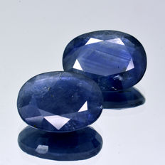 2 Blue Saphires - 6.97 ct (3.41 ct + 3.56 ct)