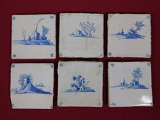 Lot with 6 Delft blue-white earthenware tiles