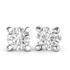 18 kt white gold earrings with 0.56 ct in brilliant cut F–G (fine white)/VS1 diamonds