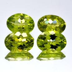 Four peridots - Total 6.26 ct