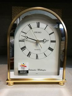 SEIKO table clock from the 1990's, in brass, with Roman numerals