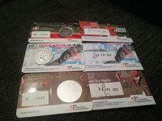 Netherlands - 5 and 10 euro 2017 in coin card, 'first day cover' (10 euro birthday, 5 euro Red Cross and 5 euro Johan Cruijff)