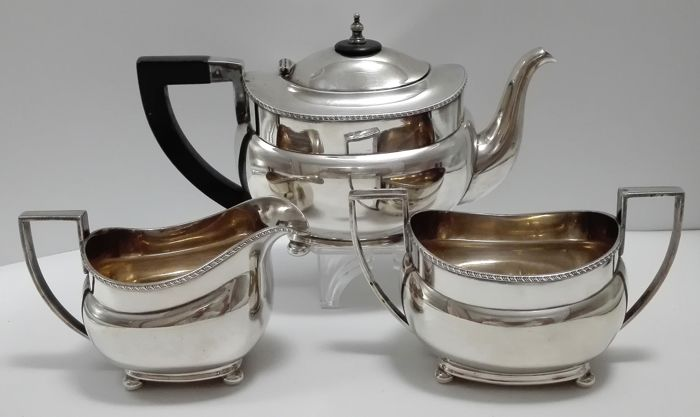 Three pieced Silver plated tea set, - Germany, WMF, 1st half of the 20th century