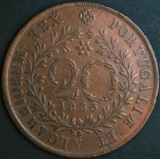 Portugal - Monarchy - Azores - D. Luís I - 20 Reis 1865 - Copper