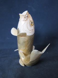 Superb ivory okimono depicting a koi carp - Japan - around 1900 (Meiji period)
