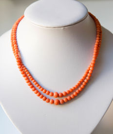 Two strand coral necklace with gold clasp