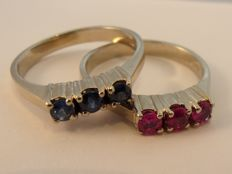 Set of 2 loose 14 kt white gold rings with rubies (0.30 ct) and sapphires (0.30 ct)