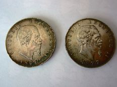 Kingdom of Italy - 5 Lira coins from 1876 and 1877, Rome Vittorio Emanuele II - 2 coins - Silver