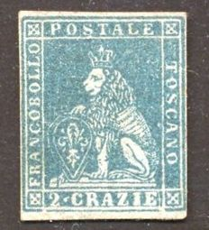 Tuscany, 1851 - 2 crazie from 1851, greenish-blue on grey, hinged without gum - Sass. No. 5e