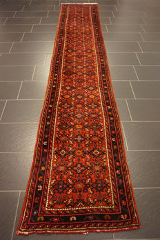 Unique Persian carpet, Malayar Hamadan, runner, top wool, natural dyes, made in Iran, 75 x 398 cm