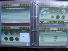 "World - Coin sets ""Coins of the World, continents Middle East and South America"" (21 different sets) in album"