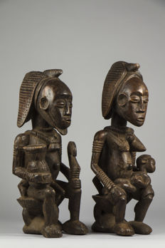 Couple of royal votive figurines - BAULE - Ivory Coast