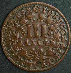 Portugal - Monarchy - D. José I – III Reis 1764 – Copper