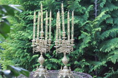 Heavy copper antique baroque set of candle holders with high-quality crystal glass Swarovski candles processed with gold leaf 10 pieces.