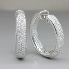 White gold earrings with 4.10 ct brilliant cut E - F (finest white) / VVS - VS diamonds with HRD certificate