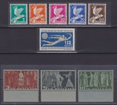 Switzerland, 1932 and 1938/42 – 2 complete series – MNH – Zumstein catalogue no. 185/190 and 216V/218V sheet edge
