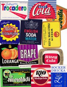 Collection of 80 old to very old lemonade labels