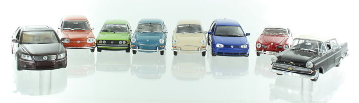 Minichamps - Scale 1/43 - Lot with 7 VW models: 1 x Opel and 6 x Volkswagen