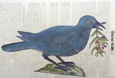 One leaf with ornithological wood blocks - Conrad Gesner - Birds: Crow, Raven, Rook [ Corvidae ] - 1669