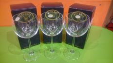 Set of 3 wine glasses engraved with square and compass - Masonry - Bohemia