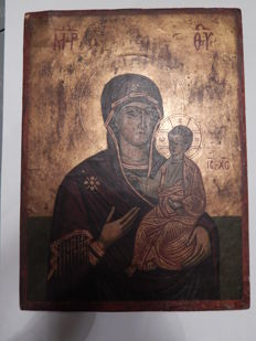 Wooden Icon - 20th century - Madonna and Child""