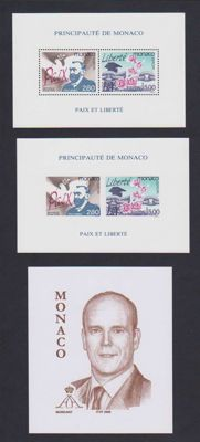 Monaco 1995 - Special perforated and imperforate blocks  on gummed Europa paper and 2006 unissued Prince Albert block